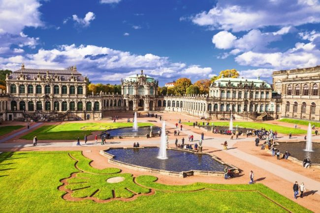 Dresden, famous Zwinger museum with beautiful gardens