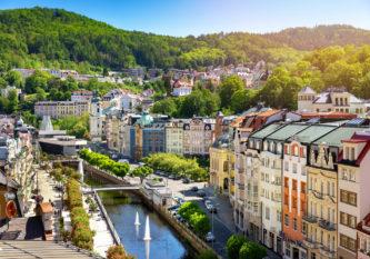 aerial view to karlovy vary city czech republic